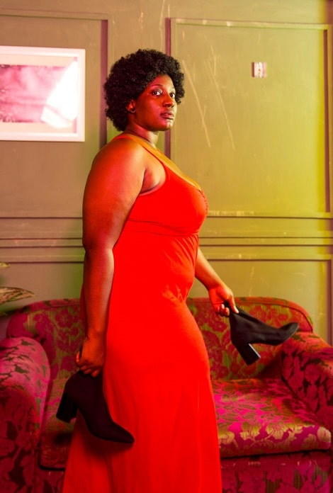 plus sized girl in red dress